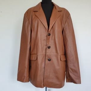 NOS NWT Brown Mens Leather Point Jacket Coat 2XL